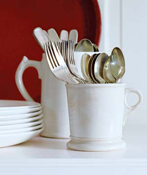 Repurpose Mugs as Utensil Holders, image credit: Real Simple; Antonis Achilleos
